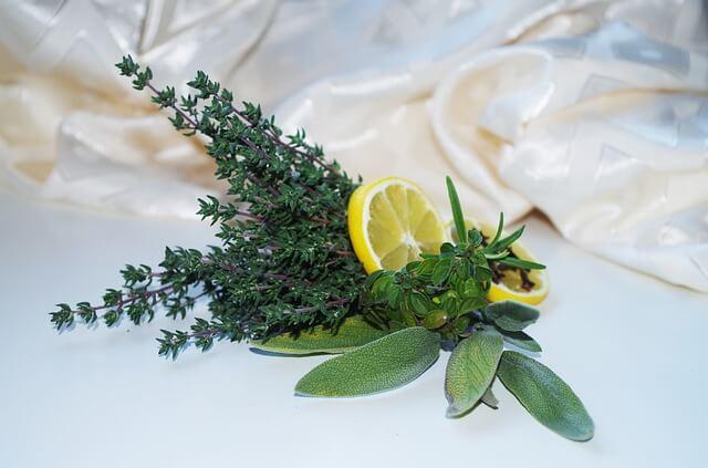 cytryna i tymianek leżą na stole