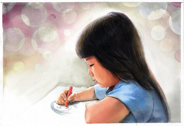 Ilustracja przedstawiająca rysująca dziewczynkę