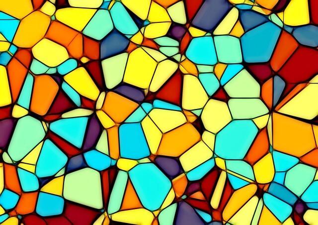 Kolorowe kostki w różnych proporcjach