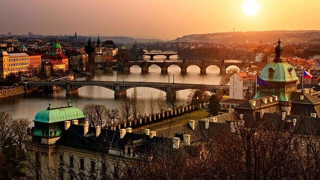 Widok na piękną czeską Pragę